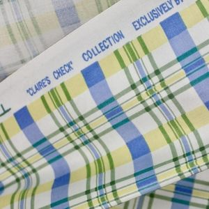 FIRM New WAVERLY CLAIRE'S CHECK fabric 3.4Y blue